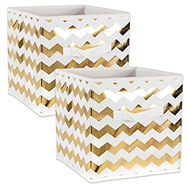 DII Fabric Storage Bins for Nursery, Offices, & Home Organization, Containers Are Made To Fit Standard Cube Organizers (13x13x13 ) Chevron Gold - Set of 2