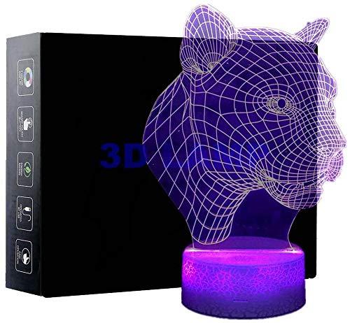 Lámpara de mesa lateral con diseño de leopardos, con mando a distancia, 16 colores cambiantes de escritorio, regalo de cumpleaños para niñas y niños