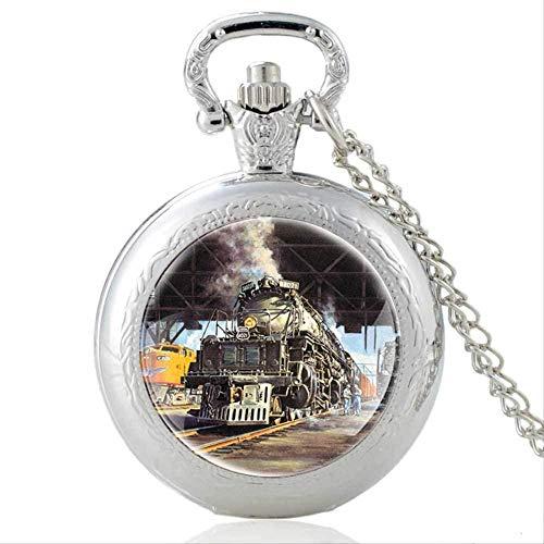 huangshuhua Iglesia Negro Vintage Cuarzo Reloj de Bolsillo Colgante Reloj Hombres Mujeres Cristal cúpula Collar Regalos