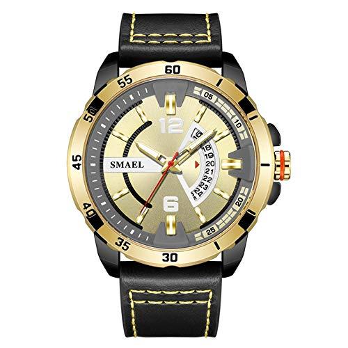 JTTM Reloj De Hombre Cronógrafo Analógico De Cuarzo Reloj De Pulsera Impermeable para Negocios con Correa De Cuero,Black Gold