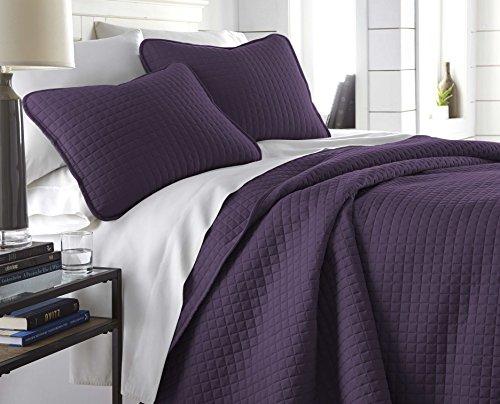 Southshore Fine Linens - Vilano Springs Oversized 3 Piece Quilt Set, King/California King, Purple