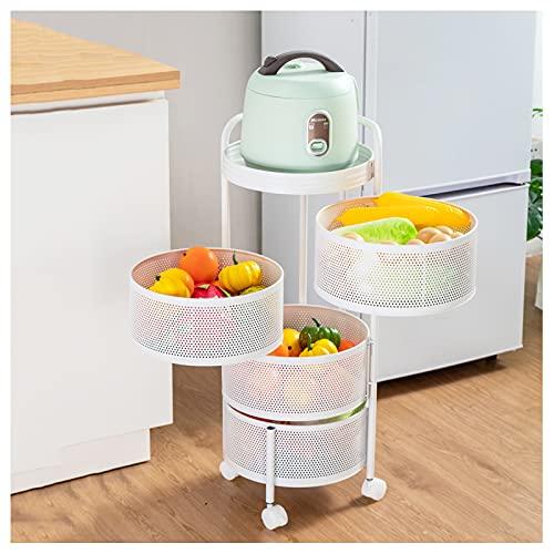 LKH Estantes De Almacenamiento De Metal, Carro De Almacenamiento De 4 Niveles Organizador Giratorio para Cocina/Garaje/Cuarto De Baño/Lavandería - Sin Necesidad De Ensamblaj(Size:4-Tier,Color:White)
