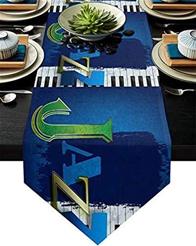 VJRQM Camino de Mesa Largo con Piano y Jazz,Camino de Mesa de arpillera Extra Largo de 90 Pulgadas para Exteriores,Interiores,Granjas,reuniones,Banquetes,Fiestas de cumpleaños,cenas
