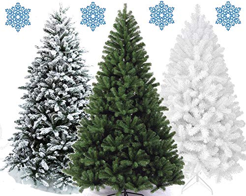 XONIC Künstlicher Weihnachtsbaum Tannenbaum 30,60,90,120, 150, 180,210 240cm Christbaum Baum GRÜN Weiss Schnee (180, GRÜN)