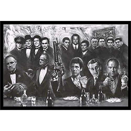 Mafia Gangster Wall Art Decor Framed Print   Scarface, Sopranos, Goodfellas & Godfather Movies Posters   24x36 Premium (Canvas/Painting Like) Textured Poster   Mob Movie Gifts for Guys & Girls Bedroom
