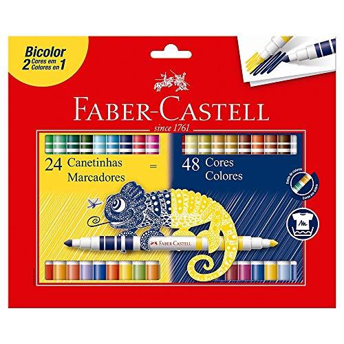 Canetinha Hidrográfica Bicolor, Faber-Castell, 24 Canetas/48 Cores