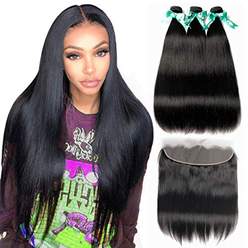 MQYQ Hair 8A Straight Bundles With Frontal (18 20 22+16 Inch) Brazilian Virgin Human Remy Hair 3 Bundles with Closure 13x4 Lace Frontal Natural Color