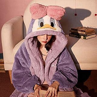 Albornoz de Invierno Dibujos animados Mickey Mouse Pijamas para mujer con capucha camisón Peluche CORAL Fleece Sleepwear Otoño Invierno Ropa casera espesar Pijama ( Color : Purple , Size : L 70 85KG )