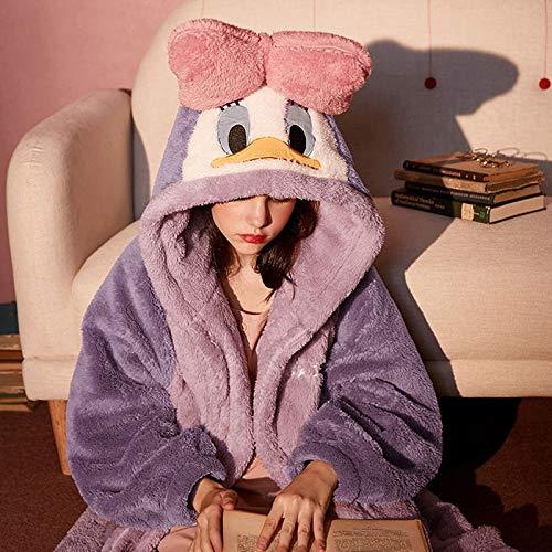 Peignoir de Bain Dessin animé mickey souris pyjamas pour femme à capuche chemise de nuit en peluche en polaire vêtement de nuit automne hiver maison vêtements épaissir pijama
