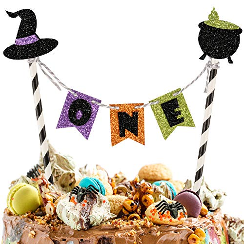 ONE Cake Topper, 1st Birthday Cake Topper Garland Cake Banner with Witch Hat Venom for Baby Shower Halloween Scary Theme PartySupplies, First Birthday Cake Topper, One Year old Birthday Party Decoration Halloween Theme Party Decorations Supplies