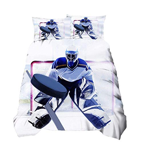 Loussiesd Decor Duvet Cover Double Size Action Ice Hockey Team Player with Stick and Puck Bedding Cover Kids Youth Sport Physical Education Comforter Cover for BoysTeens Bed Cover Ultra Soft