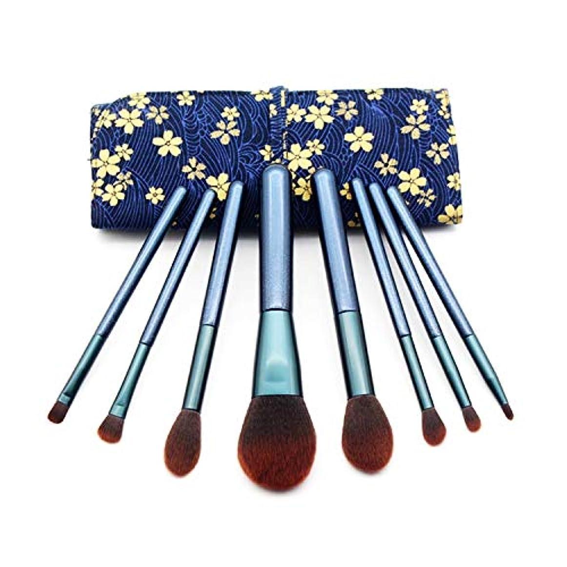 怪物カフェ懺悔Mosj 8-in-1化粧筆、木のハンドルが付いている多機能の化粧筆