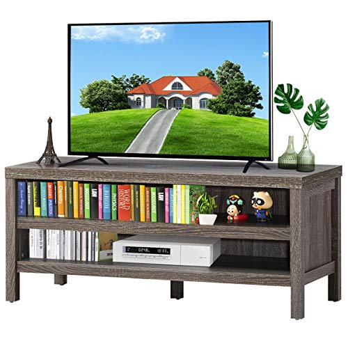 """Tangkula Retro Wooden Universal TV Stand for TVs up to 45"""" Flat Screen, Farmhouse TV Stand with 2 Adjustable Open Storage Shelves, TV Console Table for Home Living Room (Grey Oak)"""