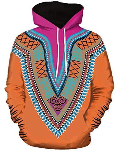 Fang Unisex 3D hoodie pullover, retro creatieve rhombus etnische bloem bloem print shirt sweat outdoor hoodies 3D dier print pullover zweet X-Large