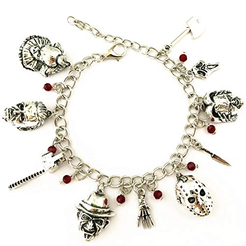Universe of Fandoms Chucky Face IT PennyWise Jason Voorhees Freddy Krueger Scream Halloween Michael Myers Horror charm bracelet Gifts for Women