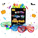 PartySticks Glow Party Favors for Kids and Adults - 50pk Party Supplies with 32 Light Up Finger Lights, 13 Glow Jelly Rings, and 5 LED Light Up Glasses