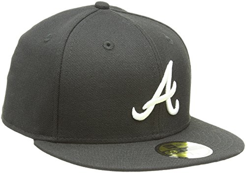 New Era MLB Basic Atlanta Braves 59Fifty Fitted Casquette De Baseball Homme, Noir (Black/White), Small (Taille Fabricant:718)