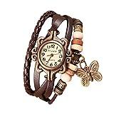 Demarkt Retro Vintage Damen Frauen Armbanduhr Armreif Uhr Schmetterling Design Anhänger Spangenuhr Quarzuhren (Khaki)
