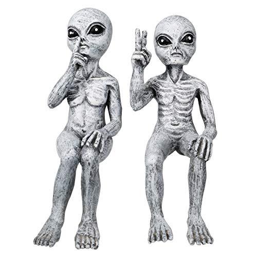 Scucs Outer Space Alien Grays, UFO Außerirdische Garten Statue, Weltraum Alien Dude und Babe Shelf Sitters Statue Figur für Home Indoor Outdoor Dekoration