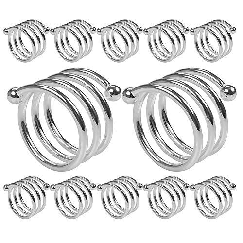 Getfitsoo Napkin Ring,Metal Napkin Holder for Wedding Party,Dinner Table Decor 12 Pcs (Silver Slingshot)