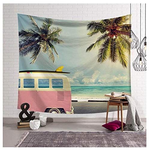 XXSCZ Hippie Mandala Tapices, Paisaje costero Cocotero -2_M / 150cmx130cm Bohemio Colgante Decoración, Indio Boho algodón Mantel Toalla de Playa, Tapiz de Pared Colgante