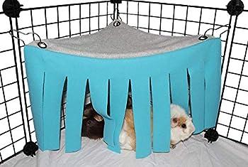 Asocea Tente hamac pour petit animal hamster Cage Accessoires Nid Lit pour cochon d'Inde, chinchilla, hérisson, rat, écureuil, furet, lapin nain (bleu)