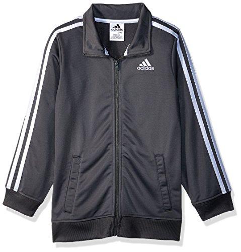 adidas Boys' Little Iconic Tricot Jacket, Dark Grey, 7