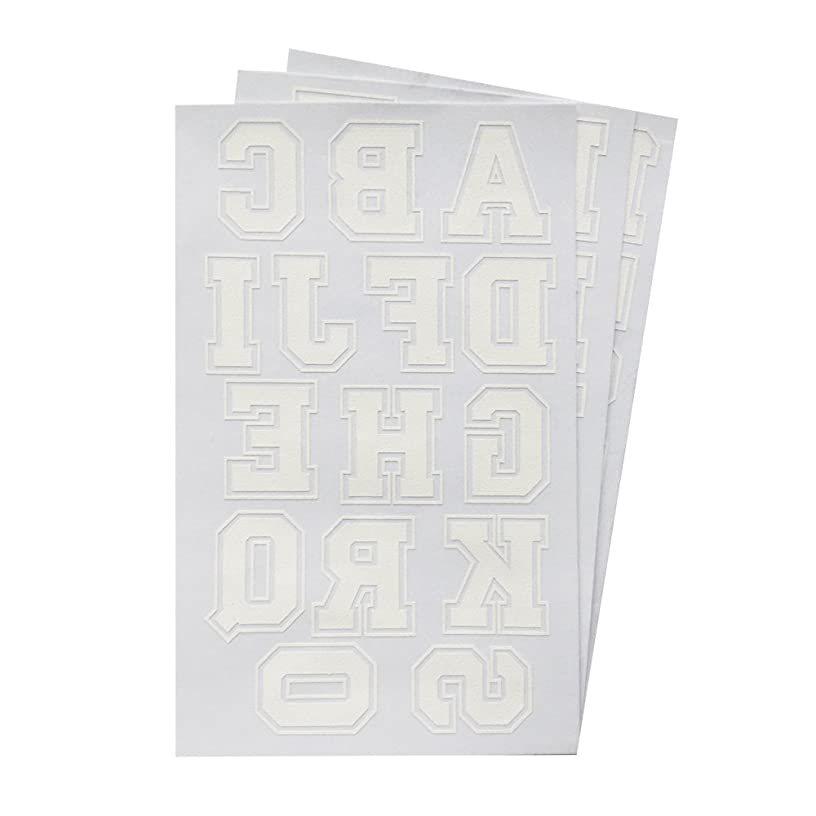 Iron on Letters & Numbers 1.75-Inch White Transfer for Clothing, 3 Sheet (Black or White Optional)