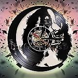jiushixw 3D Reloj para Perros de pensión Nombre de Perro Personalizado Personalizado Fuente Registro Reloj de Pared diseño Moderno Sala Creativa decoración de la p