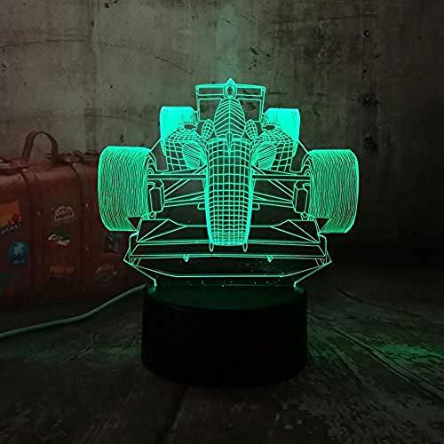 XLLJA Luna lámpara de Noche,Luz de Noche Luz de Noche 3D Lámpara LED Cool Mula Racing Car 7 Gradiente de Color Luz de Noche Regalo de cumpleaños de Navidad Niño Juguete Lámpara Multicolor