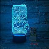 Solo 1 pieza USB Acrílico Colorido Expresión de Coca-Cola de humo Luz de noche de dibujos animados Dormitorio Oficina LED Lámpara de mesa Regalo para niños