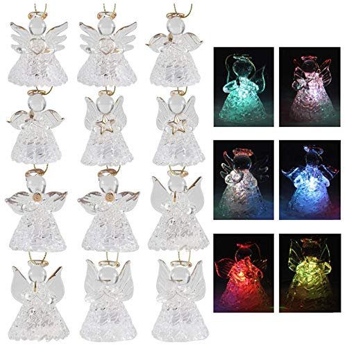 Set of 12 Spun Glass Angel Ornaments with LED Lights for Christmas Tree Decorations