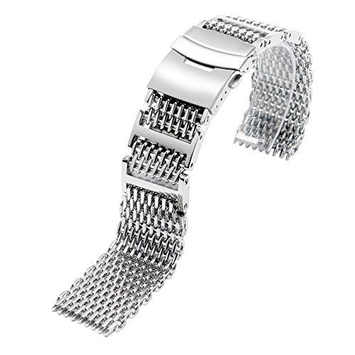 YISUYA–solides, 20 mm breites Uhrenarmband mit H-Gliedelementen, aus 316L Edelstahl, Mesh-Band, silberfarben
