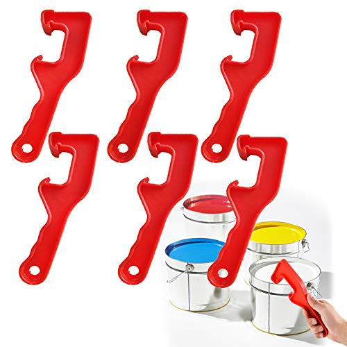 6 Pieces Paint Can Opener Paint Bucket Lid Opener, Plastic Bucket with Lid Opener Paint Can Opening Tool for Home Office 5 Gallon Bucket Lid (Red)