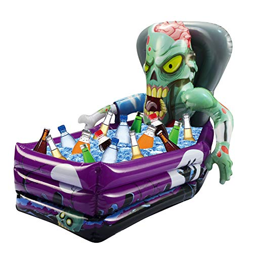"""JOYIN Novelty Inflatable Zombie Happy Halloween Drink Cooler Party Beverage Holder, (26""""x 24""""x 38"""" Approximate Inflated Size)"""