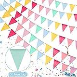 60 piezas Banderines Multicolor,Banderas Banderines,Banderines Cumpleaños,Banderines de Tela,Banderines Banderas,Pancarta Guirnalda,para Exterior Jardín Cumpleaños Boda Celebracion