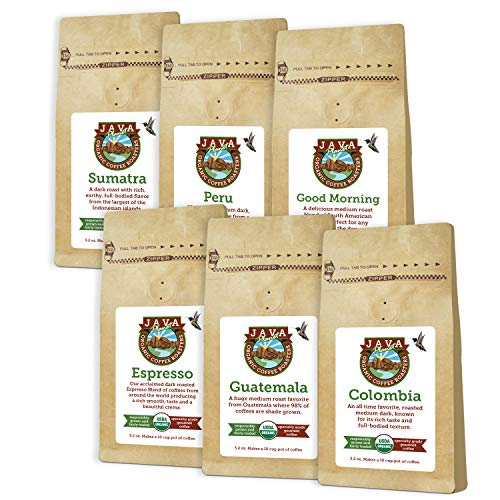 Java Planet - Coffee Beans, Organic Coffee Sampler Pack, Whole Beans