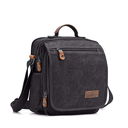 Plambag Small Messenger Bag with Multiple Pockets, Men Crossbody Bag, Canvas Tablet Bag, IPAD Bag for Men, Travel School Shoulder Side Bag Fits Ipad, Tablet (Dark Grey)