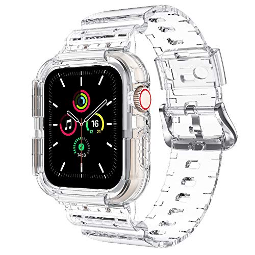 NotoCity Correa Compatible con Apple Watch SE, para Apple Watch Serie 6/5/4/3/2/1 42mm 44mm Correa de Repuesto con Funda, Creativa,Transparente (Blanco-B)