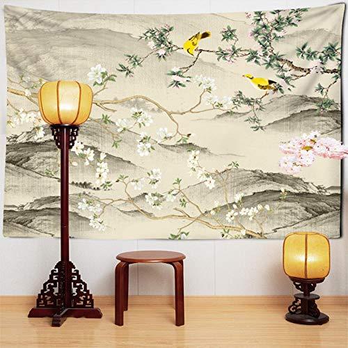 Tapiz de pared grande con diseño de flores y pájaros, estilo chino, flor de melocotón, flor de ciruelo, para colgar en la pared, tapiz bohemio mandala