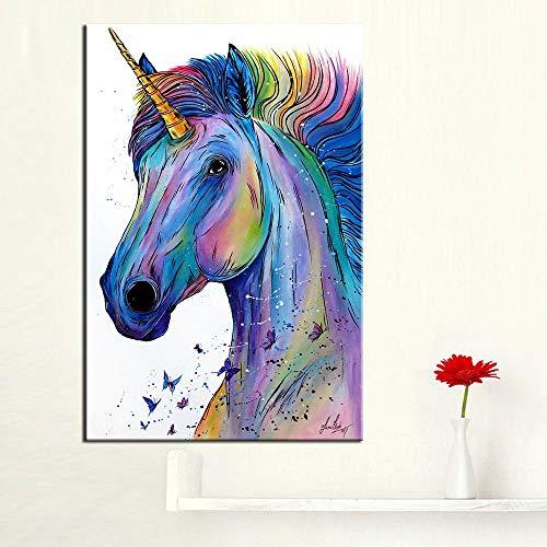 Nordic - Póster de Unicornio salón, Dormitorio, Cuadro al óleo, póster e impresión, 28 x 42 cmNo Frame