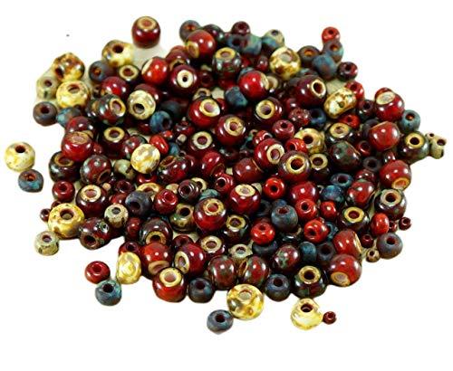 Anissa Picasso Exclusive Mix Verre tchèque Perles de rocaille Rouge Rustique Multicolore Rayé Rugueux Âgés de Tribal 20g