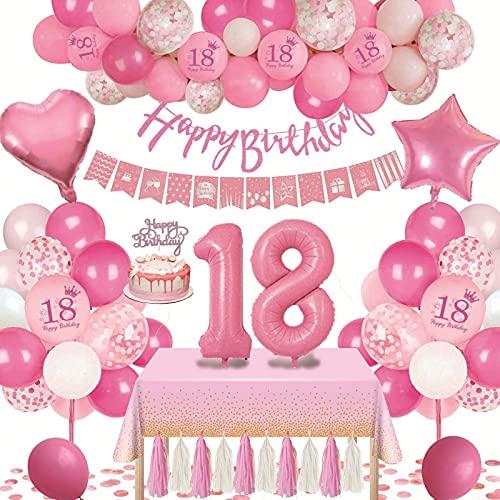 APERIL 18 Anni Decorazioni Compleanno,Buon Compleanno Banner Palloncino Lattice Rosa Tovaglia Rosa e Oro, Torta Topper Coriandoli Palloncino per Ragazza Donne Decorazioni per Feste Anniversario