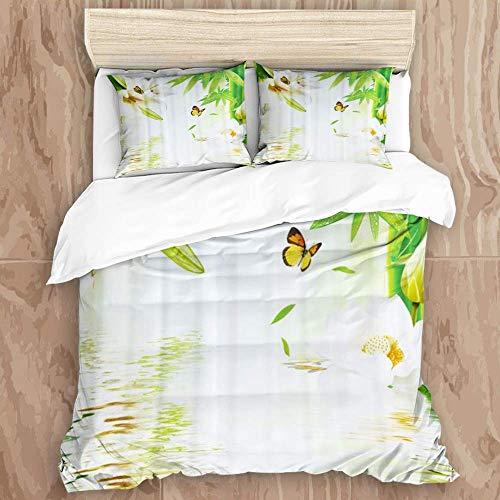 Juego de funda nórdica de 3 piezas de fácil cuidado y 2 fundas de almohada, cortina de ducha con paisaje natural, flores, mariposa de bambú, elegante funda de edredón de microfibra de calidad de lujo