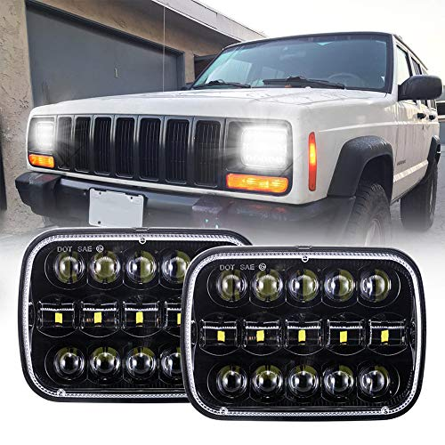 DOT 110W 5x7 Inch Led Headlights 7x6 Inch Hi/Low Led Sealed Beam Headlamp Compatible with Jeep Wrangler YJ Cherokee XJ H4 Plug H6054 Headlights H5054 6054 6052 -Black