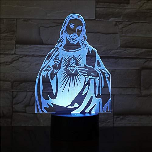Luz de noche LED 7 colores 3d Christian Jesus lámpara decoración de la sala de estar