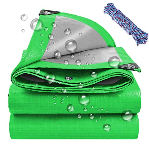 LSXIAO Plastic Tarpaulin, Waterproof Tear-resistant Polyethylene, Anti-UV Seasonal Coverage with Grommet Camping Tent Moisture-proof Mat Firewood Drying (Color : Green Silver, Size : 5.8×6.8m)