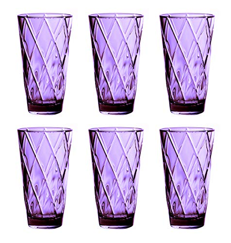 25 oz. Diamond Pattern Acrylic Plastic Tumblers Set of 6, BPA Free - Purple