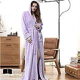 YRTHOR Albornoz de franela de invierno, tallas grandes, extra largo, con capucha, cálido, para los amantes del baño grueso, para hombres, con capucha, color morado, XL