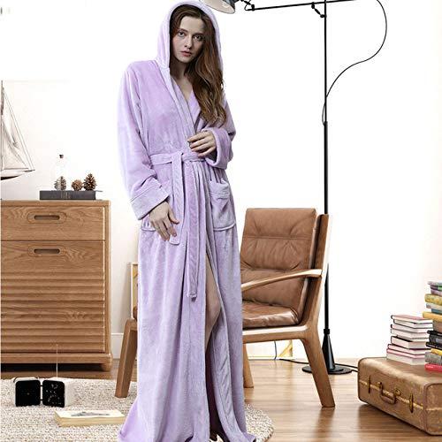 YRTHOR Albornoz cálido con Capucha, Amantes Tallas Grandes Extra LongThick Kimono Bata de baño Batas Masculinas Batas,Mujeres con Capucha Morado,XL
